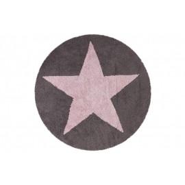 TAPIS REVERSIBLE - ETOILE - ROSE ET GRIS FONCE - 140