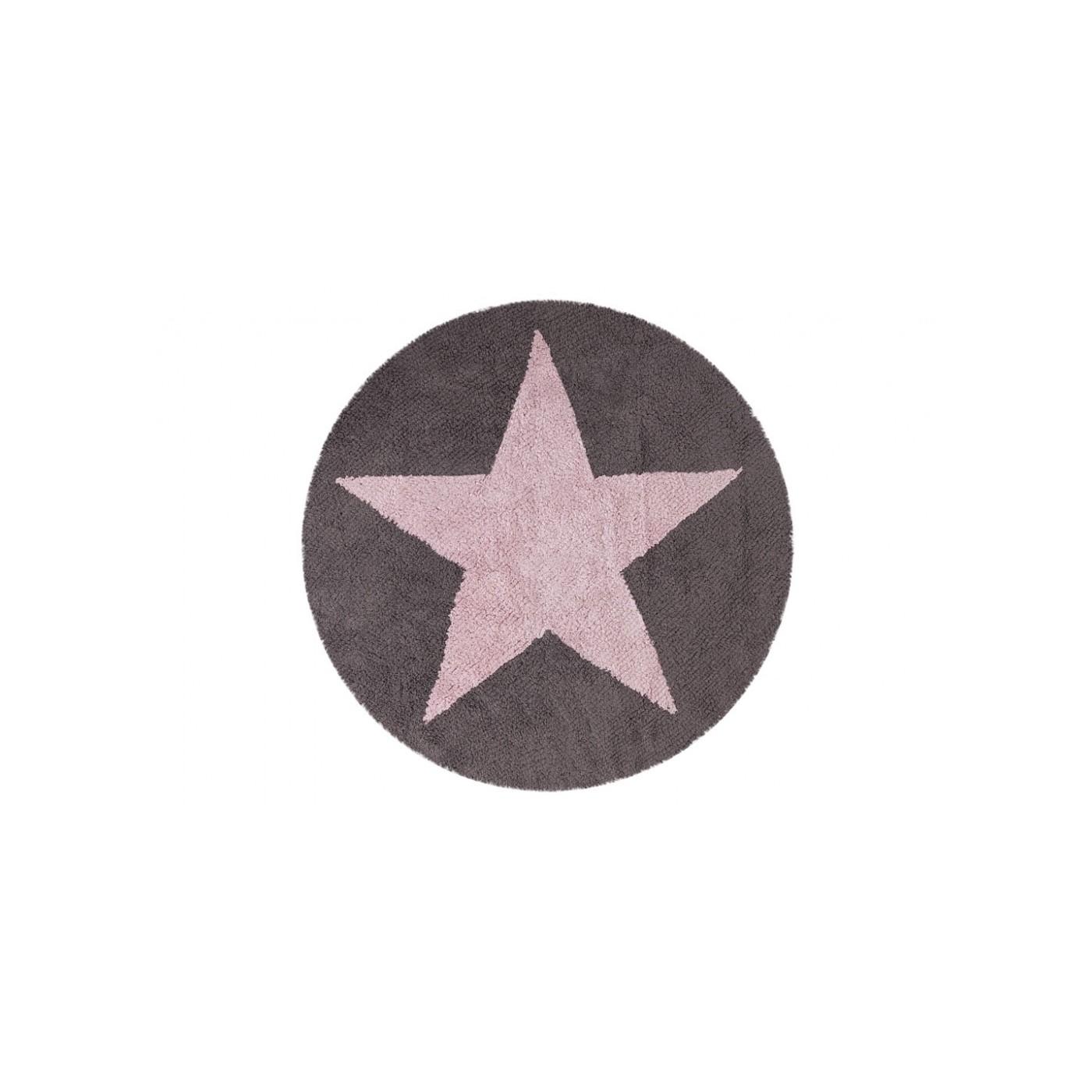 TAPIS REVERSIBLE - ETOILE - ROSE ET GRIS FONCE - 140 - YadaYada