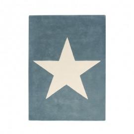 TAPIS EN LAINE - BIG STAR - BLEU VINTAGE - 140X200