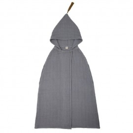 SERVIETTE PONCHO A CAPUCHE - MEDIUM - STONE GREY