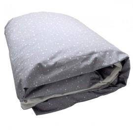 HOUSSE 200X140 - TAIE 65X65 -DRAP HOUSSE 190X90 GRIS ETOILES BLANCHES