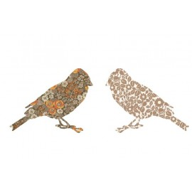 STICKERS OISEAUX ORANGE MARRON