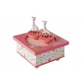 SOPHIE LA GIRAFE WOODEN MUSIC BOX PINK