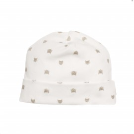 BEANIE BLANC AVEC CHAT TAUPE