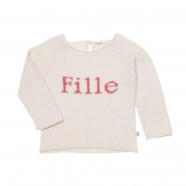 FILLE SWEATER - WHITE / PINK