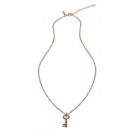 COLLIER ENFANT CLE PLAQUE OR ROSE