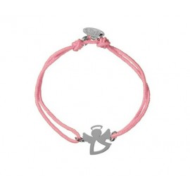 CHILDREN BRACELET MINI ANGEL SILVER AND PINK CORD