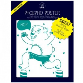 PHOSPHO POSTER - OURS VERT- GRIZZLY
