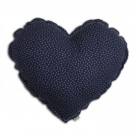 LARGE HEART CUSHION - STARS - NAVY BLUE BEIGE - NUMERO 74