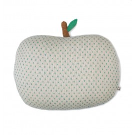APPLE PILLOW WHITE AND GREEN CHEVERON - OEUF NYC