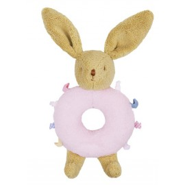 BUNNY RATTLE RING - PINK - 12 CM