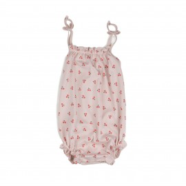 ROMPER WITHSTRAPS - LIGHT PINK / CHERRIES