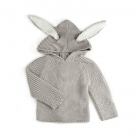 CARDIGAN A CAPUCHE - LAPIN GRIS