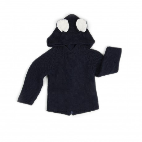 CARDIGAN A CAPUCHE - OURS MARINE