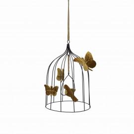 BOHEMIAN BIRDCAGE - GOLD VELVET BIRD - MEDIUM- 31 CM