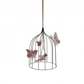 BOHEMIAN BIRDCAGE - DUSTY PINK VELVET BIRD - MEDIUM- 31 CM