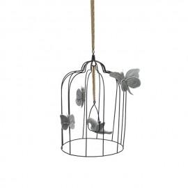 BOHEMIAN BIRDCAGE - SILVER GREY VELVET BIRD - LARGE - 33 CM
