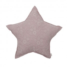 MINI LACE FLOWER STAR CUSHION - DUST PINK