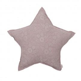MINI LACE FLOWER STAR CUSHION - DUST PINK