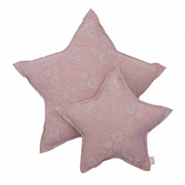 LACE FLOWER STAR CUSHION - DUST PINK
