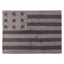 TAPIS - USA FLAG - GRIS ET GRIS FONCE- 120X160