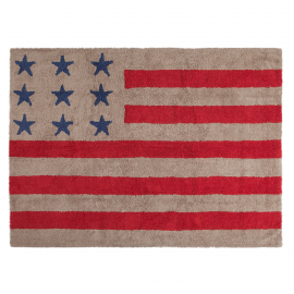 TAPIS - USA FLAG - ROUGE ET LIN- 120X160