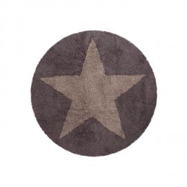 TAPIS REVERSIBLE - ETOILE -LIN ET GRIS FONCE - 140