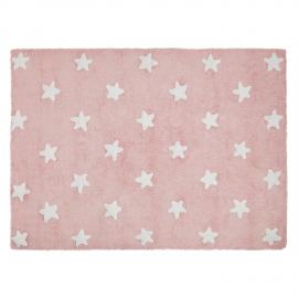 TAPIS - ROSE ETOILES BLANCHES - 120X160