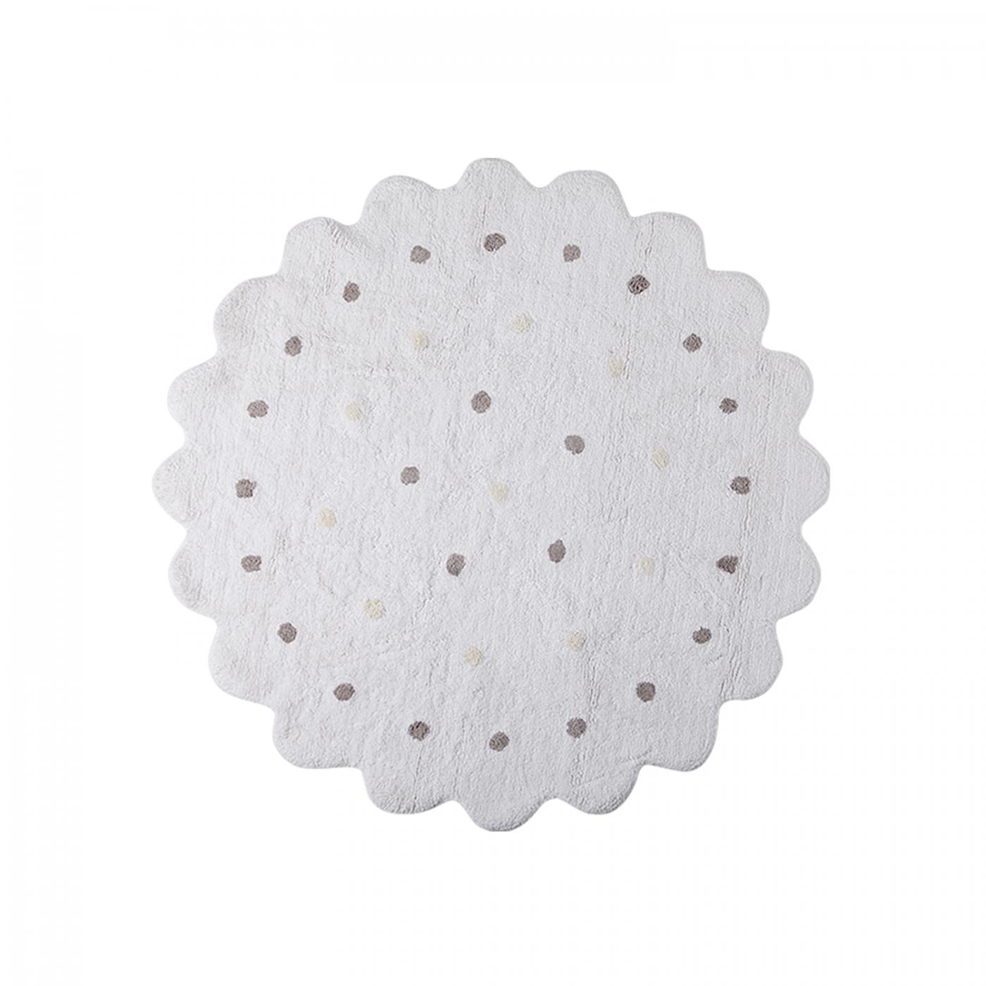 tapis petit biscuit rond blanc 140 yadayada. Black Bedroom Furniture Sets. Home Design Ideas