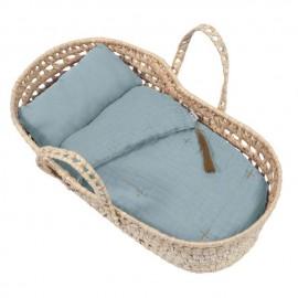 DOLL BASKET BED LINEN SWEET BLUE