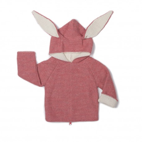 CARDIGAN A CAPUCHE LAPIN ROSE