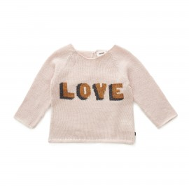 LOVE SWEATER - LIGHT PINK AND GOLD
