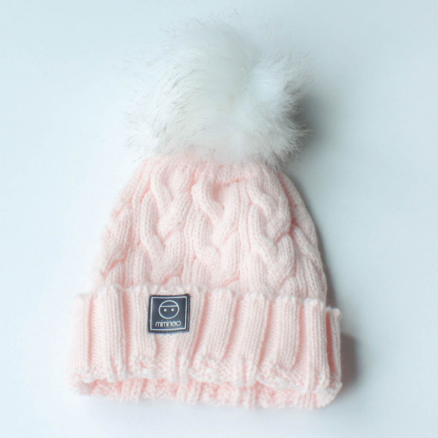 e8b91cbb366 fabulous bonnet tricote rose pompon blanc loading zoom with bonnet ours  tricot