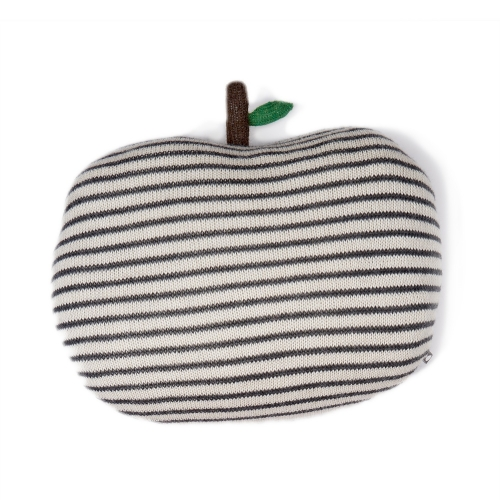 coussin pomme - rayures blanches et grises foncees - oeuf nyc