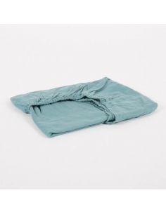 DRAP HOUSSE - BLEU CANARD - 70X160