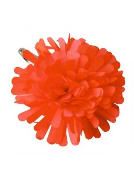 Barrette pompom fluo orange