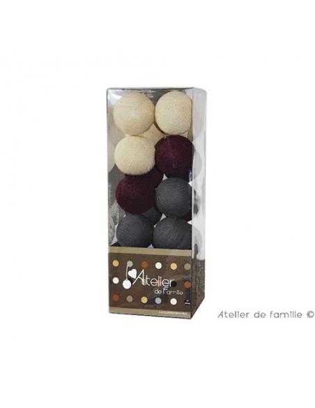 packaging guirlande lumineuse - prune grise et lin