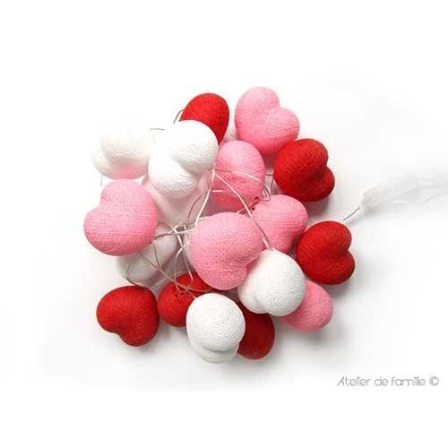 guirlande lumineuse petits coeurs roses