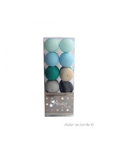 packaging guirlande lumineuse - bleue grise et lin