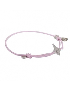 CHILDREN BRACELET MINI BEE SILVER AND PINK CORD