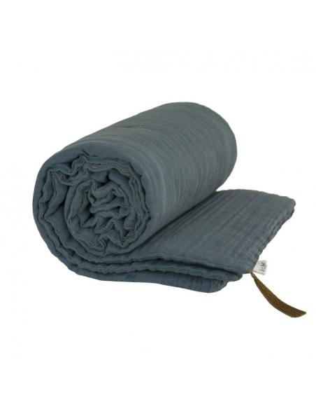 Couverture épaisse gris bleu