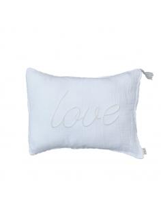 Coussin Blanc c'est Blanc, brodé du mot Love