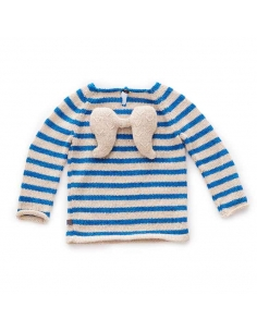 pull ange - beige et rayures bleues ocean - oeuf nyc
