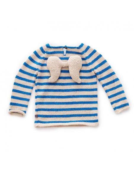 pull ange - beige et rayures bleues ocean - oeuf nyc