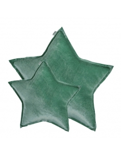 Coussin étoile, Velours Vert