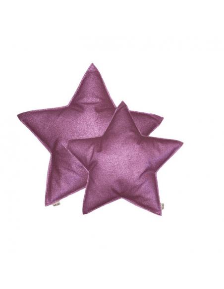 Coussin étoile, Paillettes rose