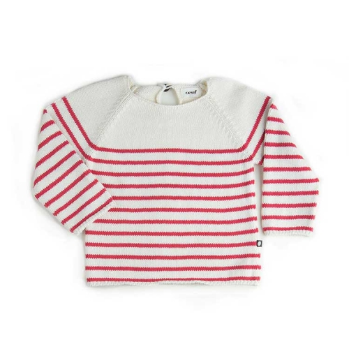 pull mariniere rayures blanches et rouges - oeuf nyc