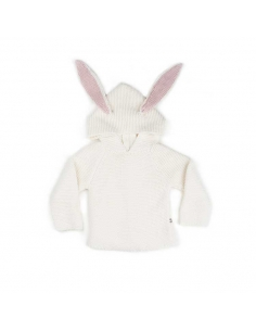 cardigan a capuche - lapin blanc - oeuf nyc