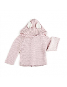 cardigan a capuche - chat vieux rose - oeuf nyc