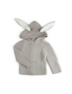cardigan a capuche - lapin gris - oeuf nyc